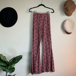 Pants - Red paisley hippie flare cozy pants